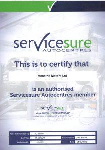 ServiceSure Membership Certificate